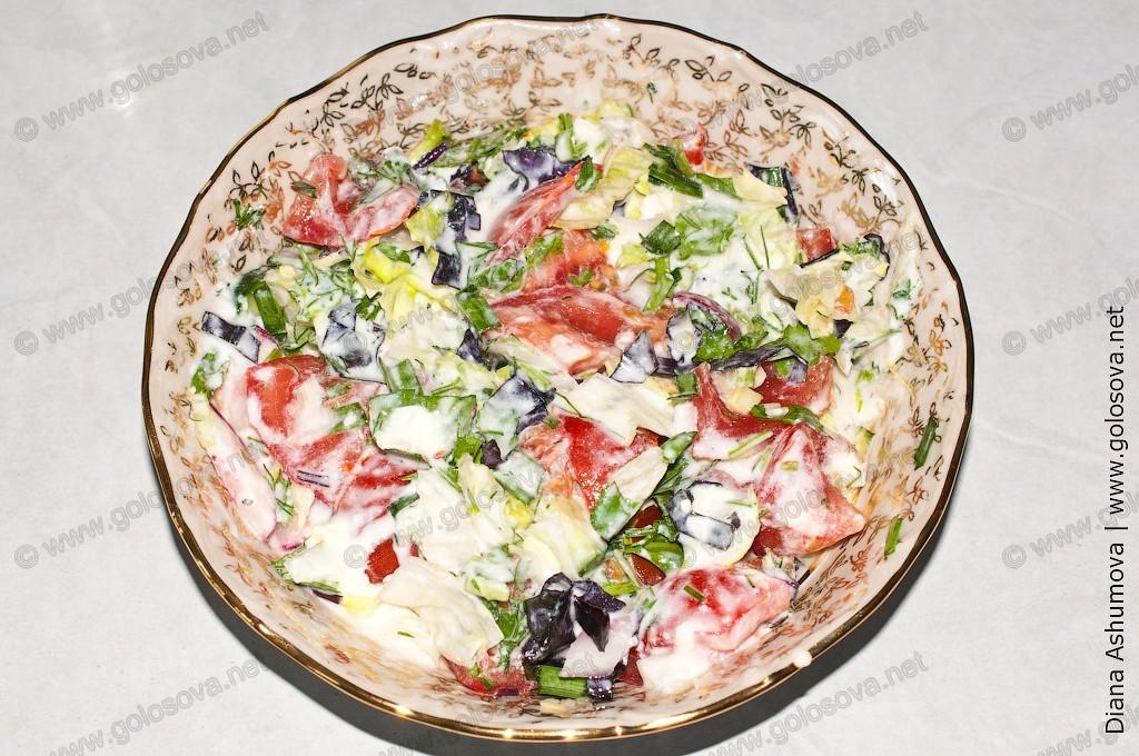 салат с помидорами и огурцами с мацони