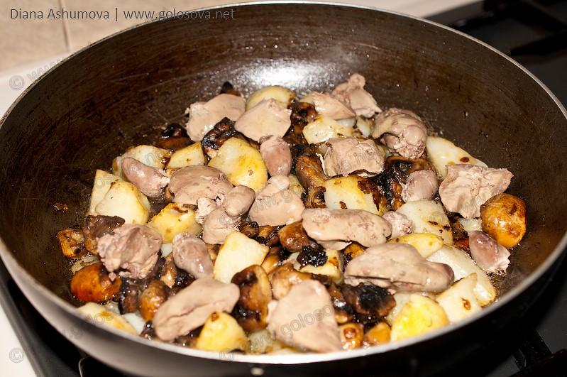 Рецепт жареной картошки с куриной печенью