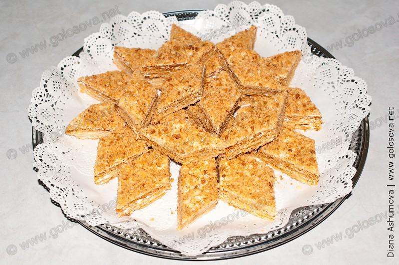 песочный пирог с белковым кремом