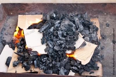 разжигаем угли для шашлыка