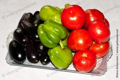 баклажаны, перцы, помидоры