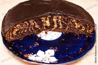 фото пирога Зебра на сметане