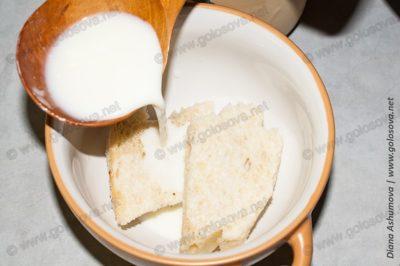 мякиш хлеба с молоком