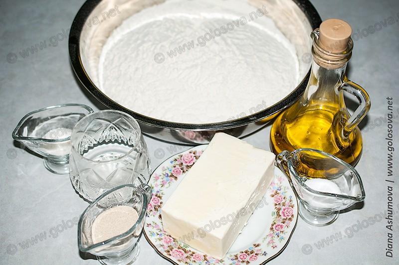 мука, маргарин, растительное масло, дрожжи для теста на пироги