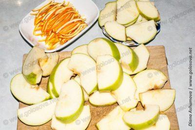цедра апельсина и дольки яблока
