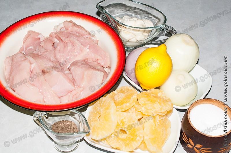 филе индейки, сушеные ананасы, лук и лимон, майонез