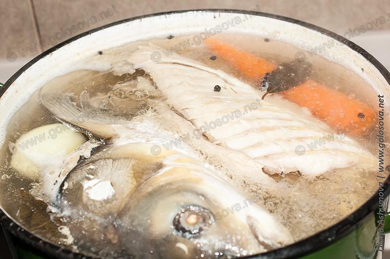 вареная рыба с морковью. луком и специями