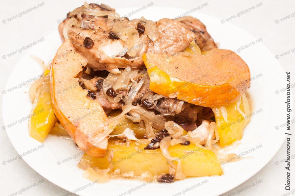 тушеная картошка с курицей в утятнице