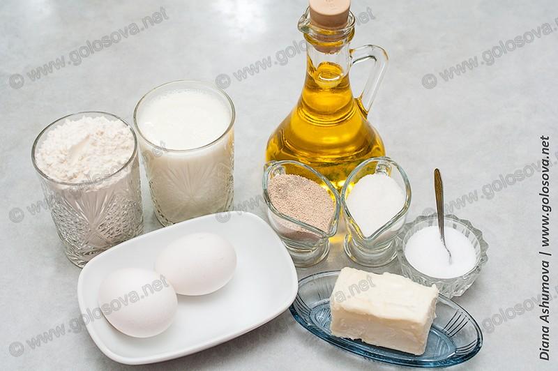 ингредиенты для дрожжевого теста для пирожков: молоко, мука, сухие дрожжи, масло, яйца