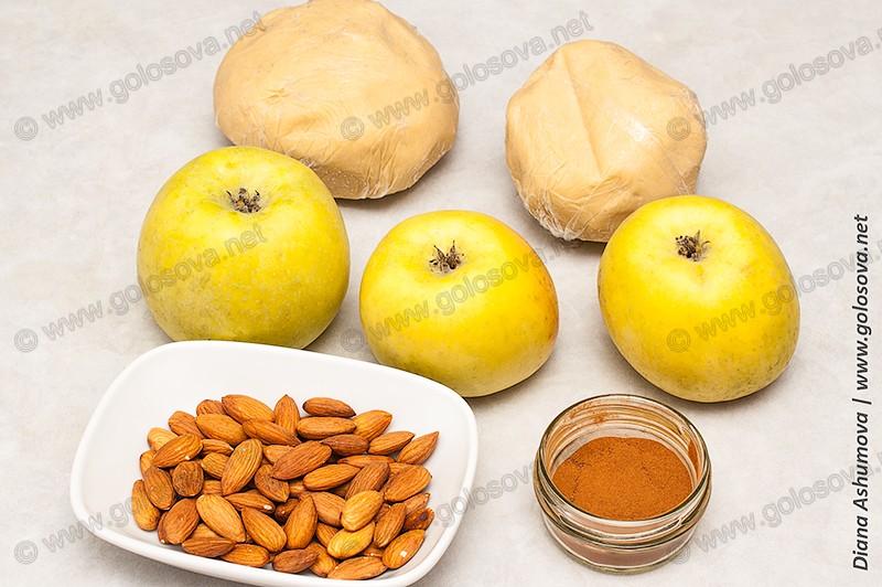 песочное тесто, яблоки, миндаль, корица