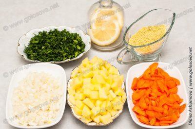овощи и пшено для ухи