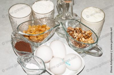 ингредиенты на торт Генерал с орехами и изюмом