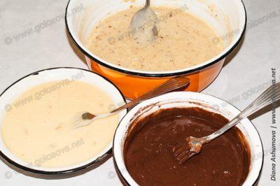 ореховое тесто, шоколадное тесто, и тесто с изюмом