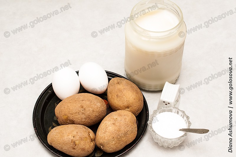 картофель в мундире и яйца