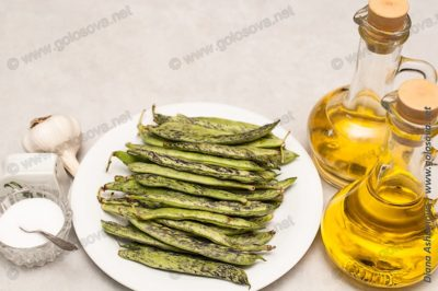 стручковая фасоль, уксус, растительное масло