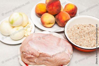 филе индейки, персики, лук, чеснок, миндаль