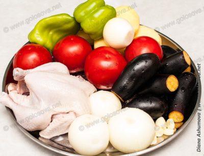 овощи и курица