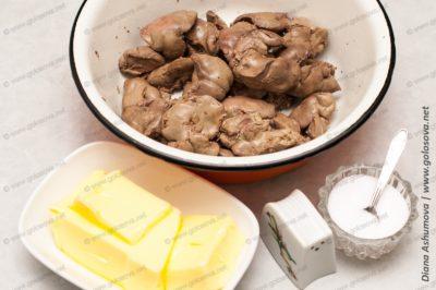 куриная печень и сливочное масло