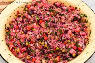 салат винегрет с зеленым горошком