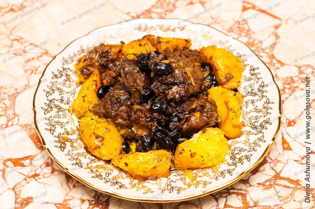 печень индейки на сковороде с апельсинами