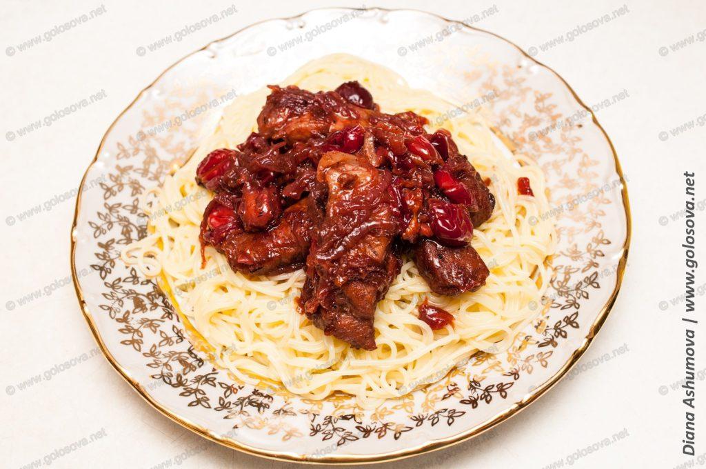 паста капеллини с вишней и свининой