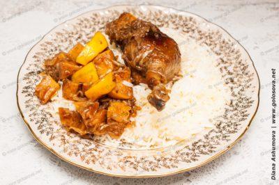 утка с рисом и айвой