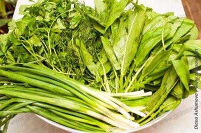 мытая зелень для зеленого борща