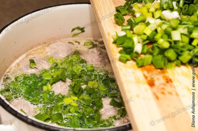 запускаем зеленый лук в зеленый борщ с мясом