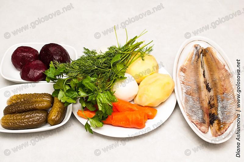 овощи и селедка для винегрета
