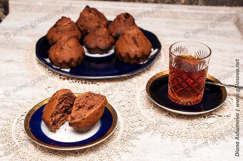 кексики с какао в силиконовых формочках