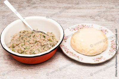 тесто на пельмени и фарш из свинины