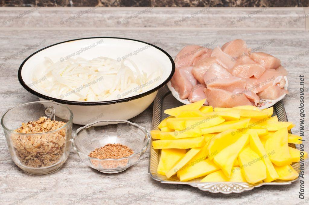 куриное филе, картофель и лук