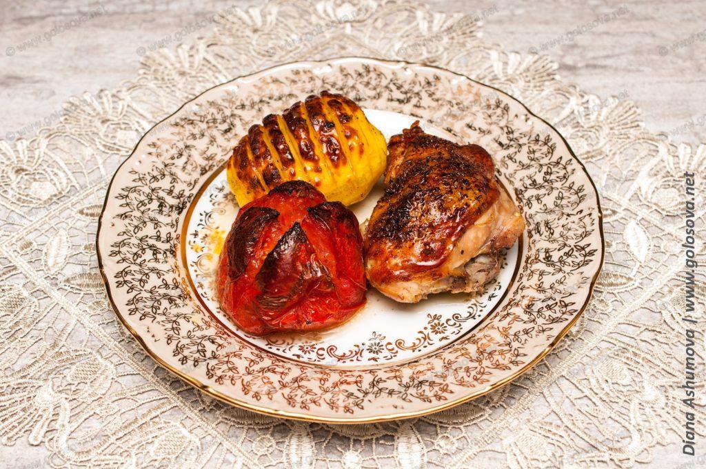 куриные бедра в духовке с овощами