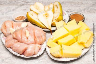 продукты для духовки: куриное филе, картошка и груши