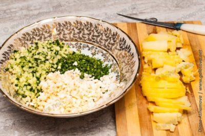 нарезанная картошка для окрошки