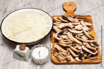грибы и лук для начинки пирога