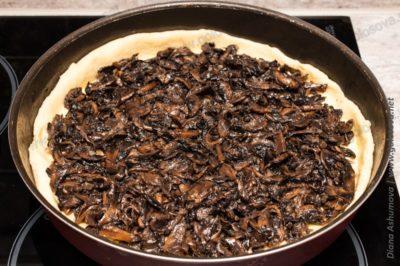 грибной пирог из дрожжевого теста