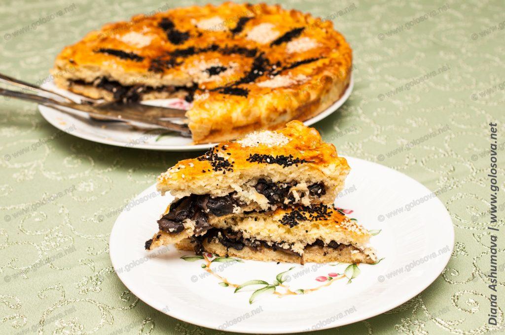 домашний пирог с грибами в духовке