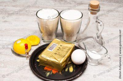 маргарин, яйцо и сахар, мука для песочного теста
