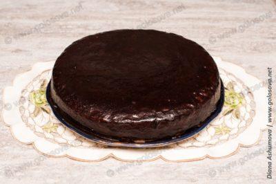 шарлотка с киви в шоколадной глазури